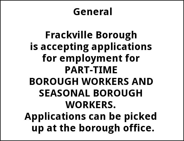 Part Time Borough Workers and Seasonal Borough Workers