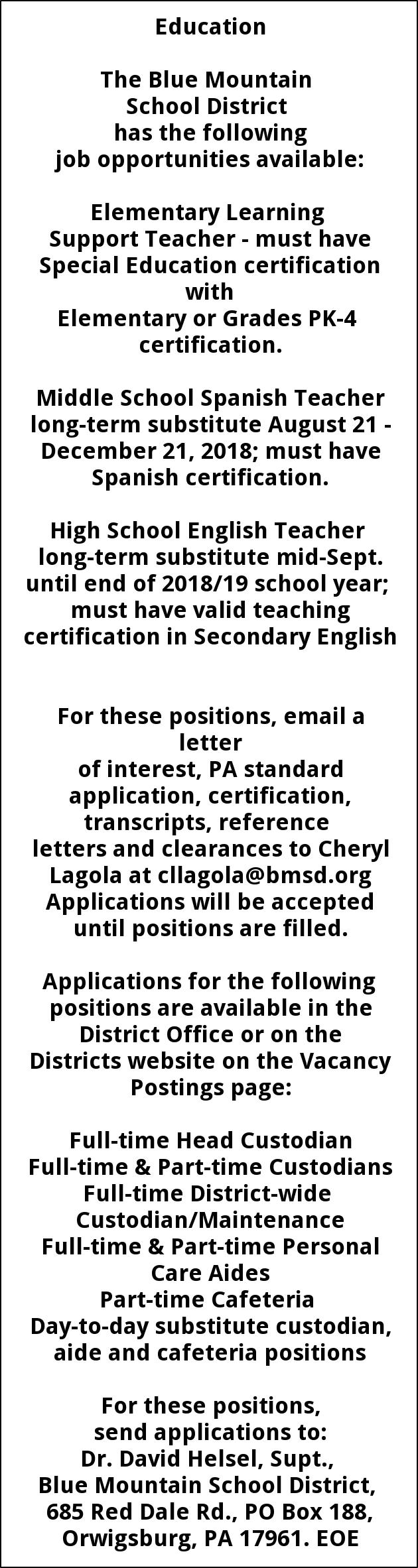 Various Teaching Positions