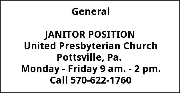 Janitor Position United Presbyterian Church Pottsville PA