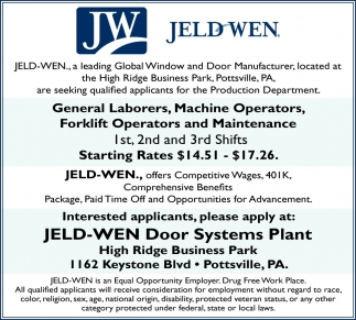 General Laborers, Machine Operators, Forklift & Maintenance