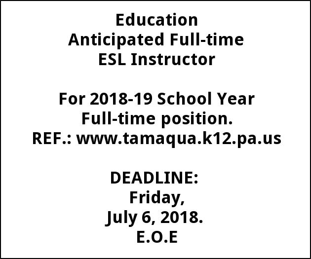 Anticipated Full-time ESL Instructor