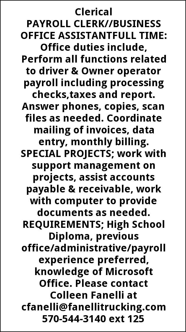 Payroll Clerk/ Business Office Assistant