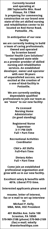 Cna Rn Lpn Supervisor Senior Healthcare Solutions Scranton Pa