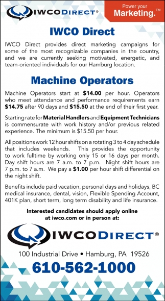 Machine Operators  Material Handlers  Equipment Technicians