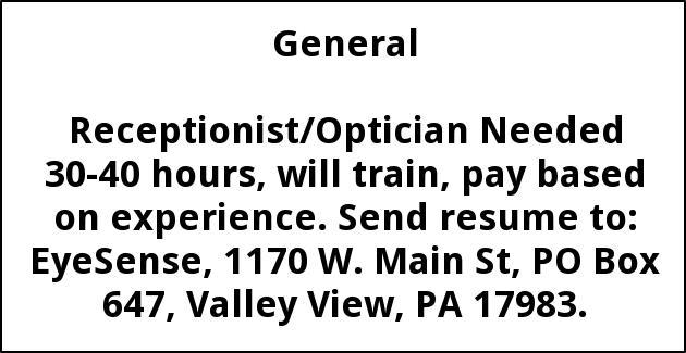 Receptionist/Optician